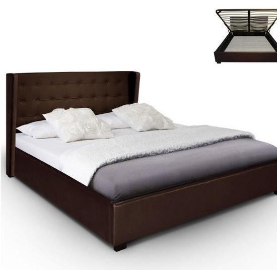 Lit coffre refresh sommier 140cm marron achat vente structure de lit li - Sommier pour lit coffre ...