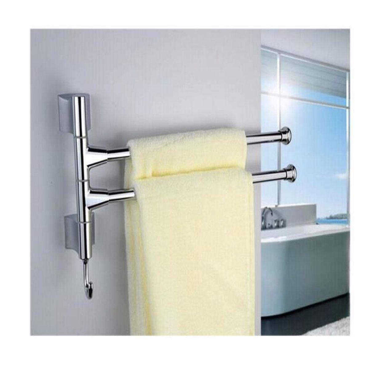 2 barres porte serviettes mural pivotantes en acier for Porte serviettes mural salle de bain