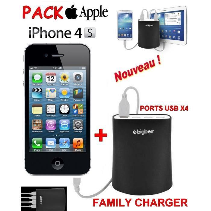 apple iphone 4s noir family chargeur achat smartphone pas cher avis et meilleur prix. Black Bedroom Furniture Sets. Home Design Ideas
