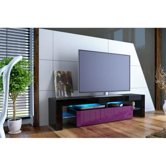 Meuble tv design laqu noir et violet oui noir violet achat vente m - Meuble tv violet laque ...