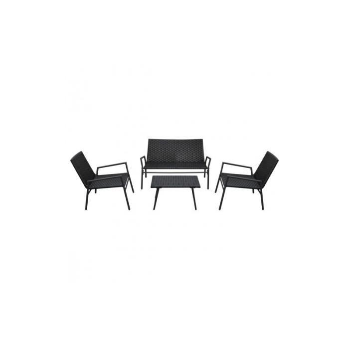 Set de chaises et tables en rotin 4 pi ces noir achat for Table et chaise en rotin