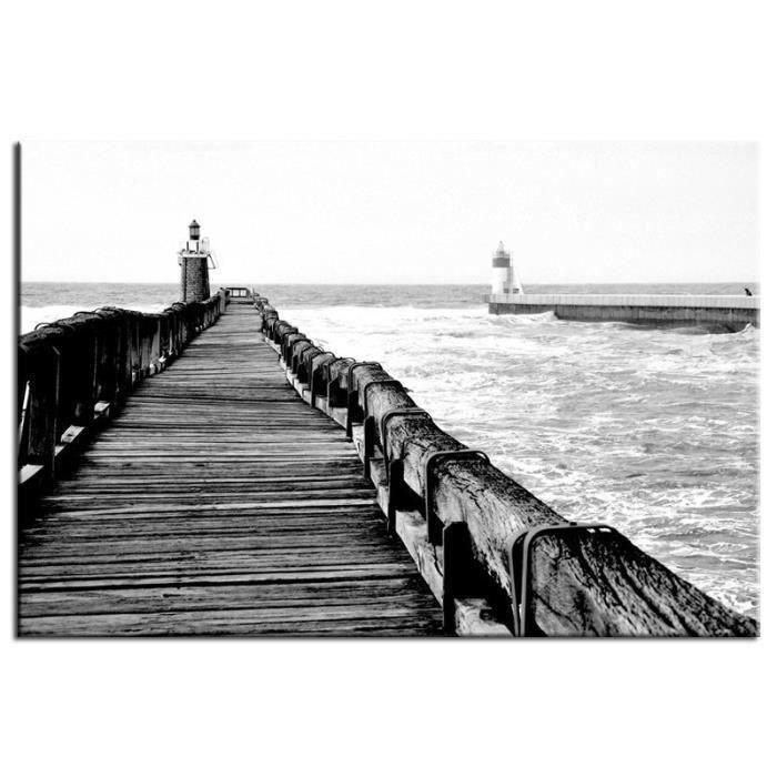 Ponton tableau d co 80x50cm noir et blanc paysage achat vente tableau t - Tableau noir et blanc pas cher ...