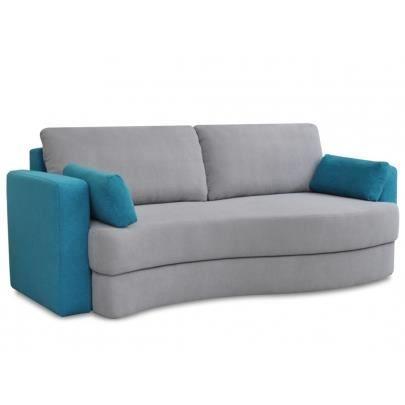 canap 3 places convertible en tissu pilat bicolore gris turquoise achat vente canap. Black Bedroom Furniture Sets. Home Design Ideas