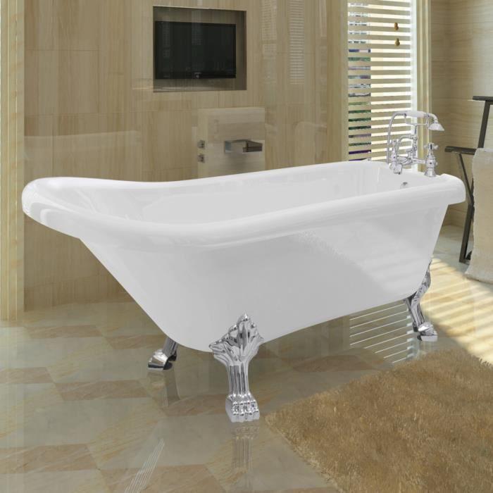 Baignoire sur pieds en acrylique avec robinetterie achat - Salle de bain avec baignoire sur pied ...
