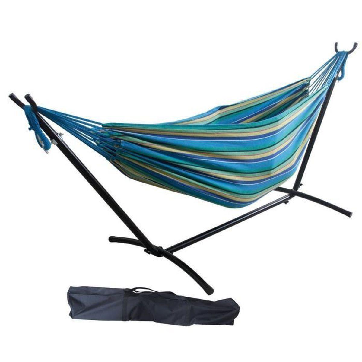 hamac hamac avec support pour deux personnes vert. Black Bedroom Furniture Sets. Home Design Ideas