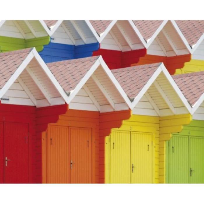 Cabanes poster reproduction cabines de plage color s for Cabane de plage en bois