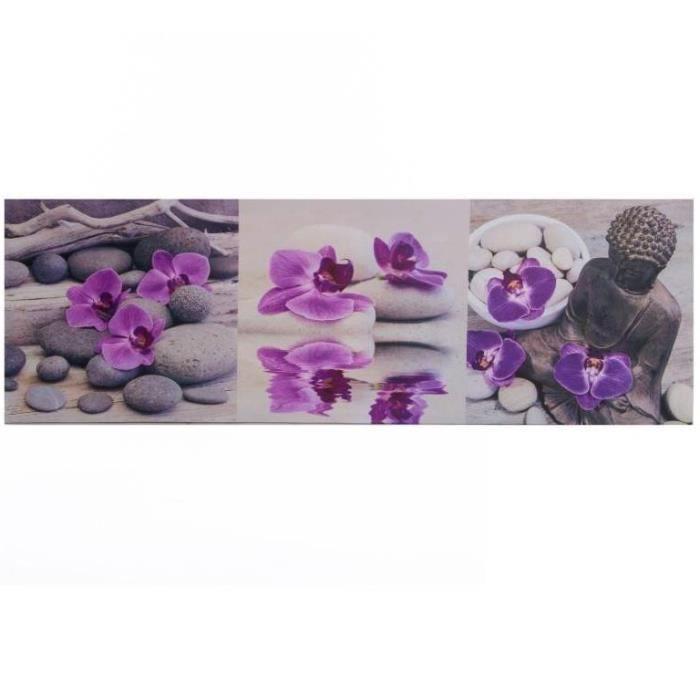 cadre toile zen bouddha et orchid e 90 x 30 cm achat vente tableau toile cdiscount. Black Bedroom Furniture Sets. Home Design Ideas