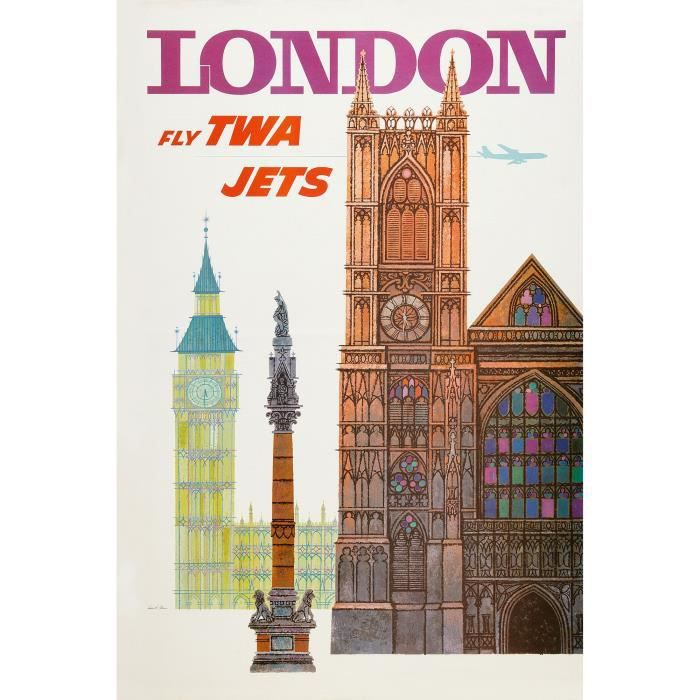 London fly twa jets repro poster pub 60x90 achat vente for Decoration murale fly