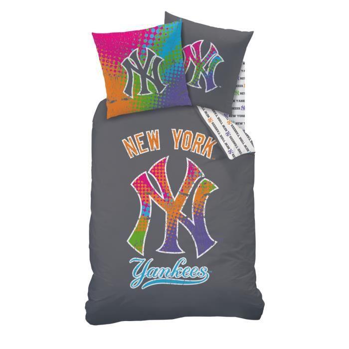 housse de couette et taie d 39 oreiller new york yankees gris 100 coton achat vente parure de. Black Bedroom Furniture Sets. Home Design Ideas