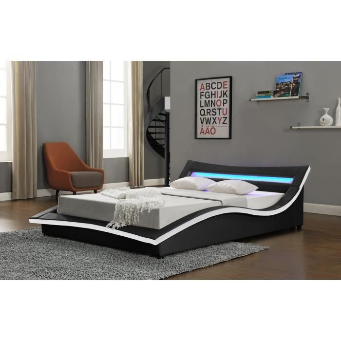 lit trafalgar cadre de lit en simili noir avec led int gr es 140x190cm achat vente. Black Bedroom Furniture Sets. Home Design Ideas