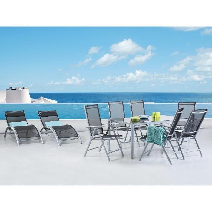 Table De Jardin Aluminium Plateau En Verre 160 Cm 2 Transats Et 6 Chaises Catania Achat