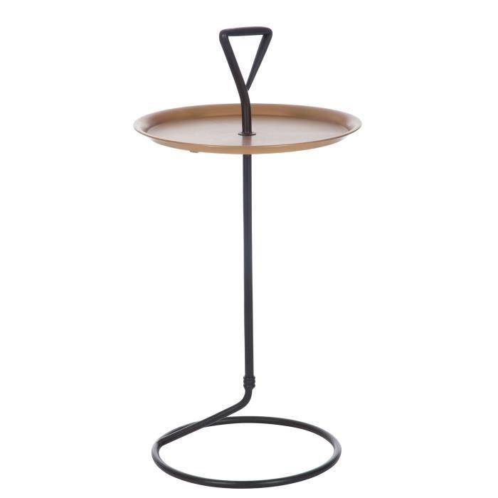jolipa bout de canap m tal noir et bois or 46 cm achat vente table basse jolipa bout de. Black Bedroom Furniture Sets. Home Design Ideas