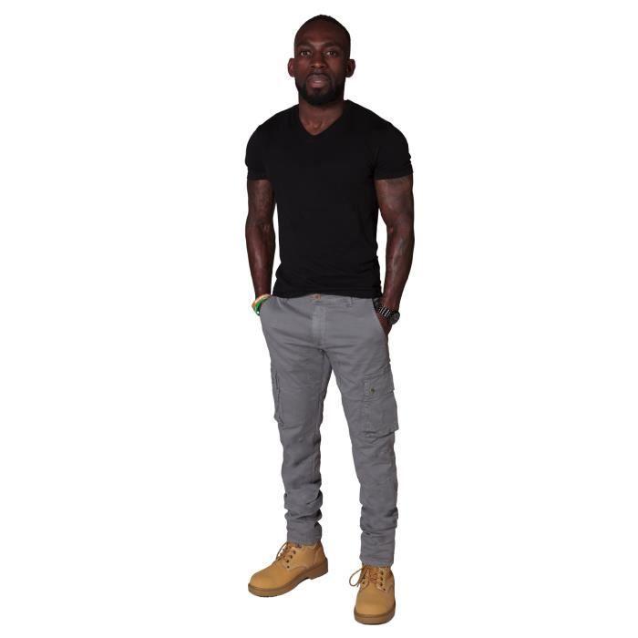 pantalon cargo homme gris gris gris achat vente pantalon cdiscount. Black Bedroom Furniture Sets. Home Design Ideas