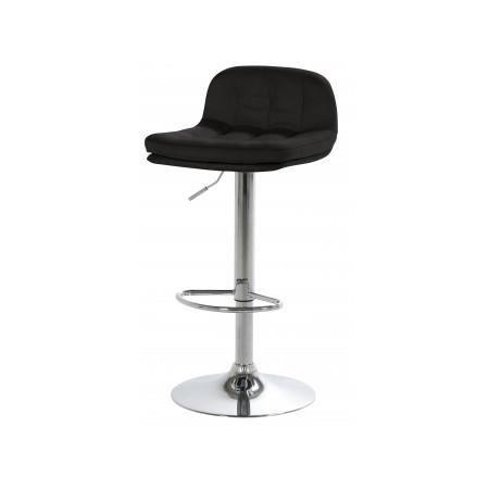 tabouret de bar capitonn noir addy achat vente tabouret de bar acier chrom polyur thane. Black Bedroom Furniture Sets. Home Design Ideas