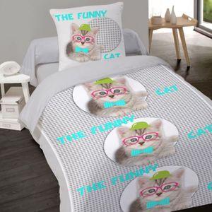 housse de couette chat 140x200 achat vente housse de couette chat 140x200 pas cher cdiscount. Black Bedroom Furniture Sets. Home Design Ideas