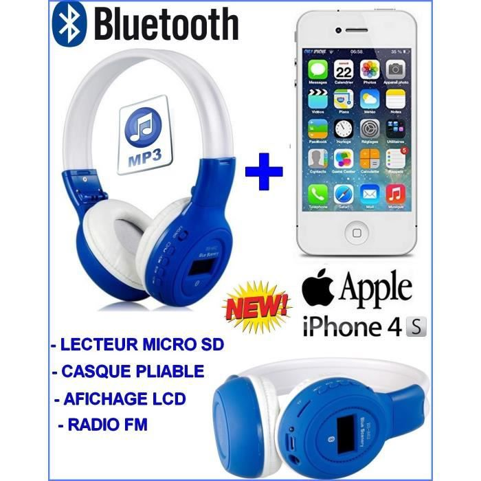 coffret special apple iphone 4s blanc casque stereo bluetooth achat smartphone pas cher. Black Bedroom Furniture Sets. Home Design Ideas