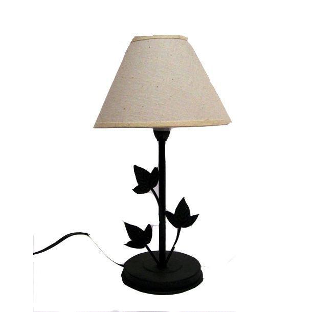 lampe metal feuille vigne abat jour couleur creme achat. Black Bedroom Furniture Sets. Home Design Ideas