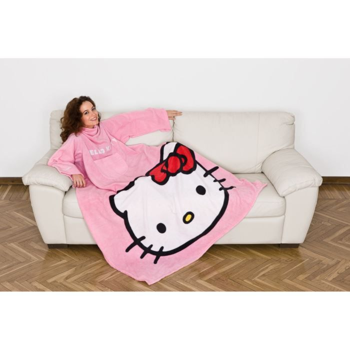 Couverture polaire manches hello kitty 140x180cm achat - Couverture polaire avec manches ...
