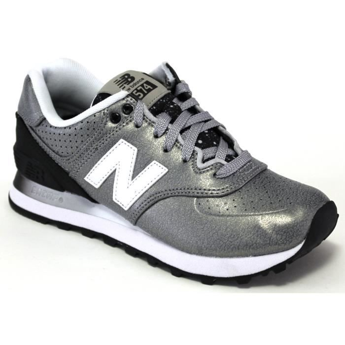 new balance sneakers wl574 womens metallic rac silver black achat vente basket cdiscount. Black Bedroom Furniture Sets. Home Design Ideas