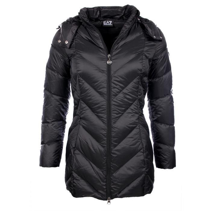 ea7 armani mountain doudoune noire 3 4 femme 6xtk01 tn01z noir noir achat vente doudoune. Black Bedroom Furniture Sets. Home Design Ideas