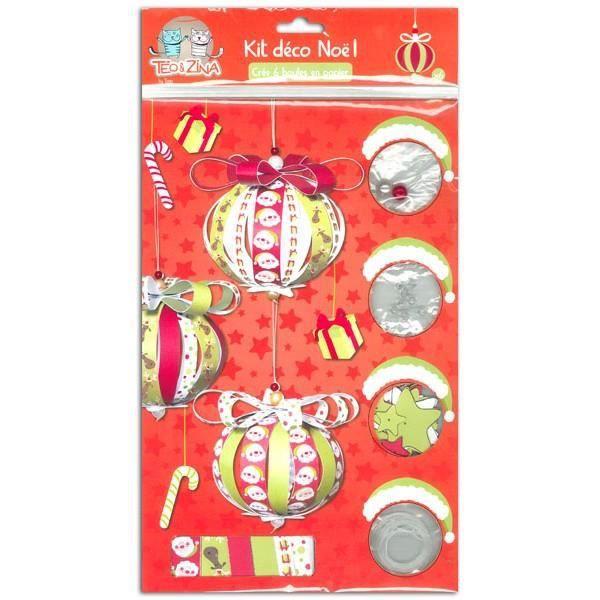 Kit cr atif d co de no l 6 boules en papier achat for Boule de papier deco