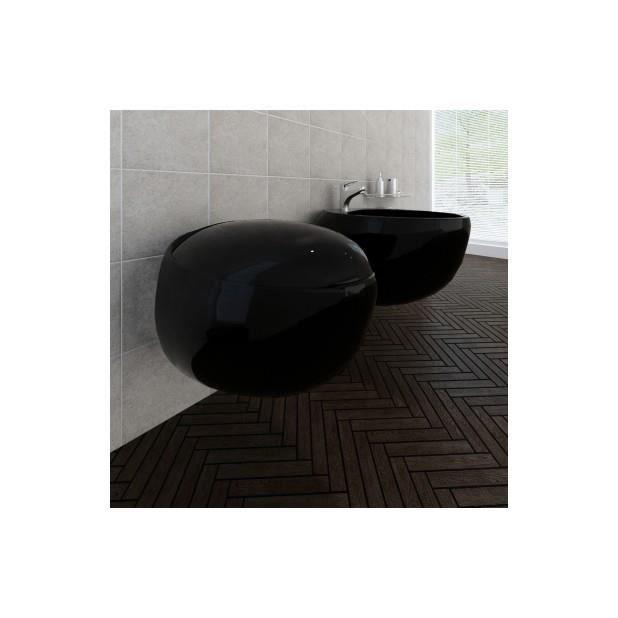 Superbe cuvette wc suspendue noire et bidet suspendu en c ramique sanitaire noir achat vente for Comcuvette wc suspendu noir