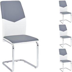 CHAISE Lot de4 chaises de salle à manger LEONA blanc gris
