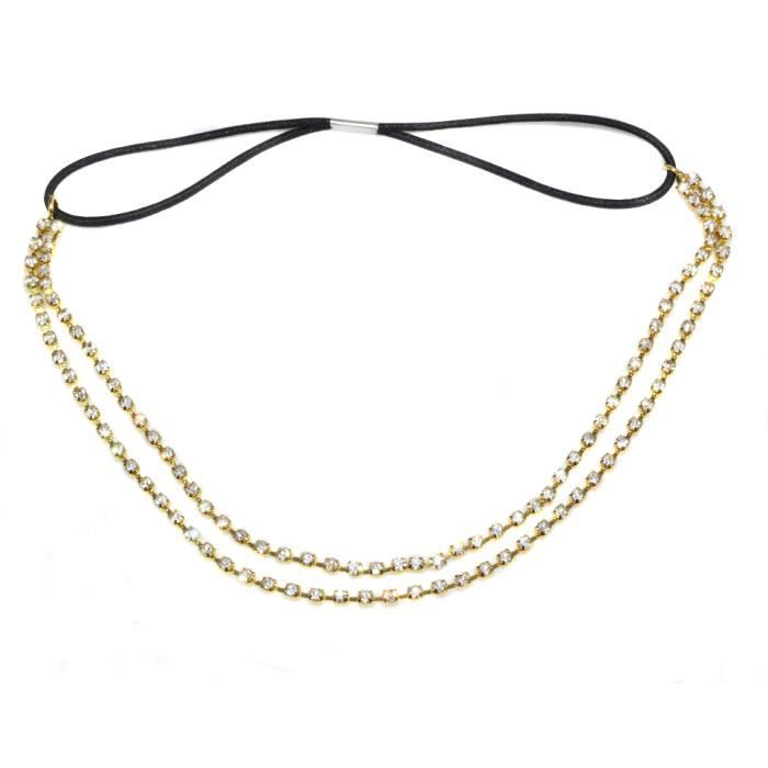 bijoux collier de front dor strass pour mariage ou une soir e achat vente bandeau serre. Black Bedroom Furniture Sets. Home Design Ideas