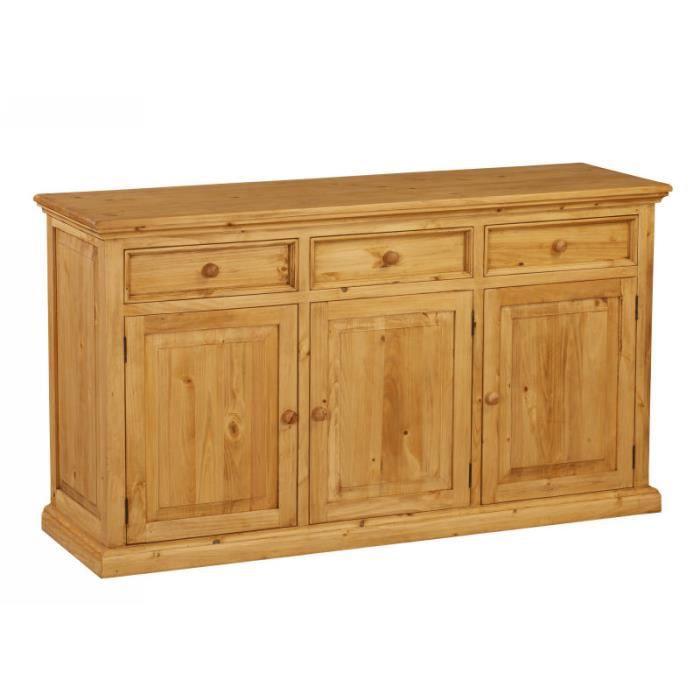 bahut pin massif 3 portes 3 tiroirs couleurs des alpes meuble house achat vente buffet. Black Bedroom Furniture Sets. Home Design Ideas