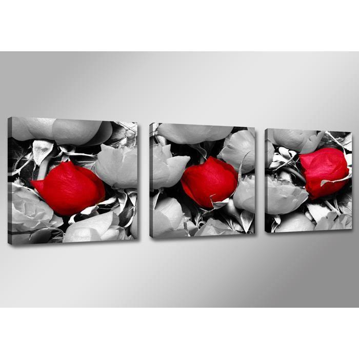 Tableau triptyque imprim rose achat vente tableau for Tableau en verre imprime