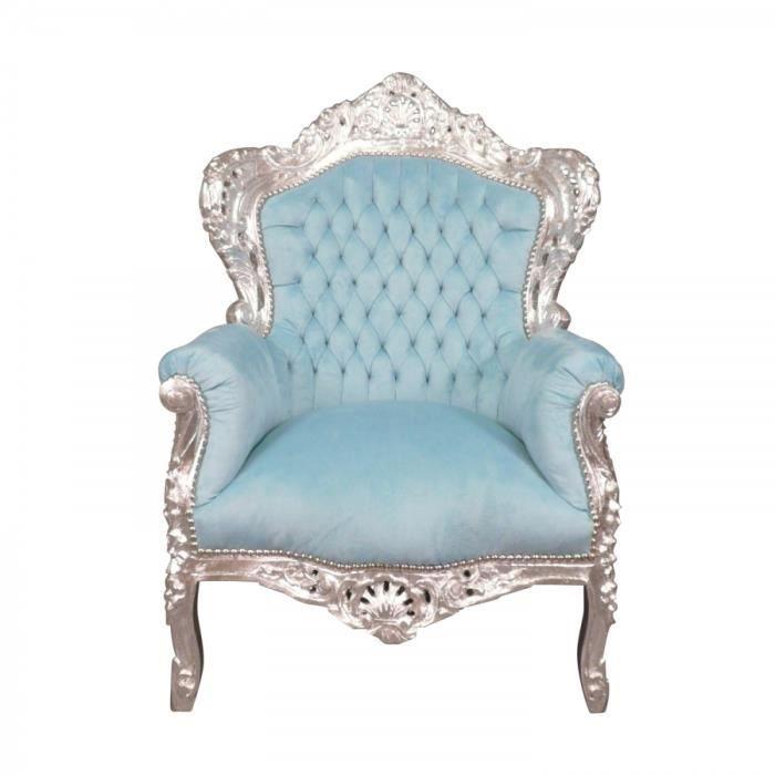 fauteuil baroque bleu ciel et bois argent achat vente fauteuil bois h tre velours cdiscount. Black Bedroom Furniture Sets. Home Design Ideas