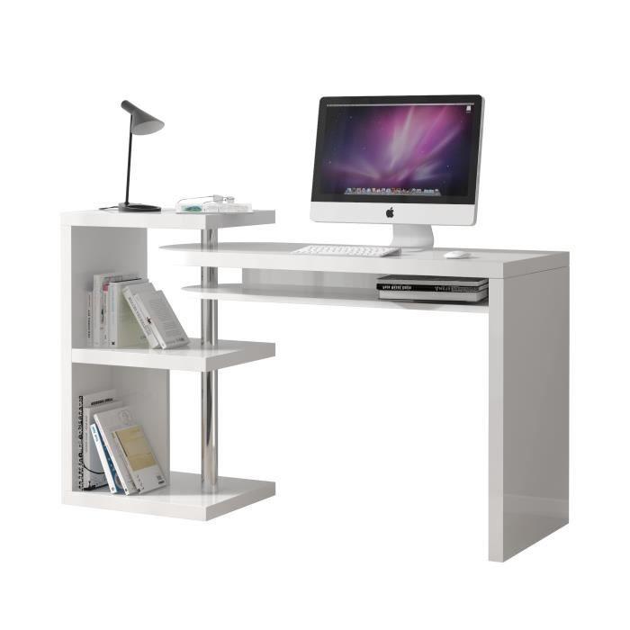 bureau blanc laqu modulable avec rangement achat. Black Bedroom Furniture Sets. Home Design Ideas