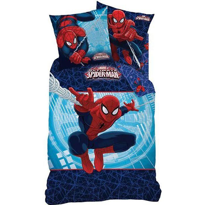 housse de couette spiderman action pour lit 1 p achat