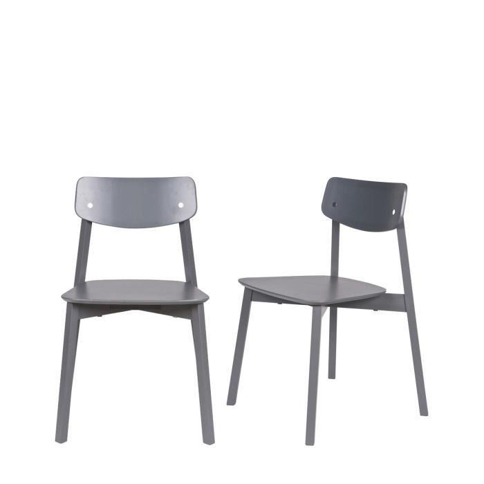 Lot de 2 chaises en bois laqu elfy couleur gris for Chaise bois gris