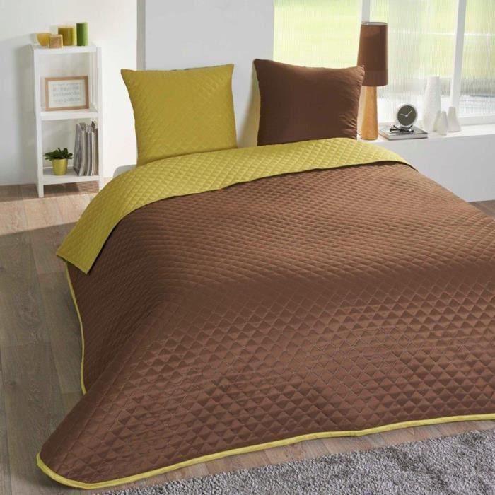 couvre lit 220x240 bicolore cacao anis 2 taies achat vente jet e de lit boutis cdiscount. Black Bedroom Furniture Sets. Home Design Ideas