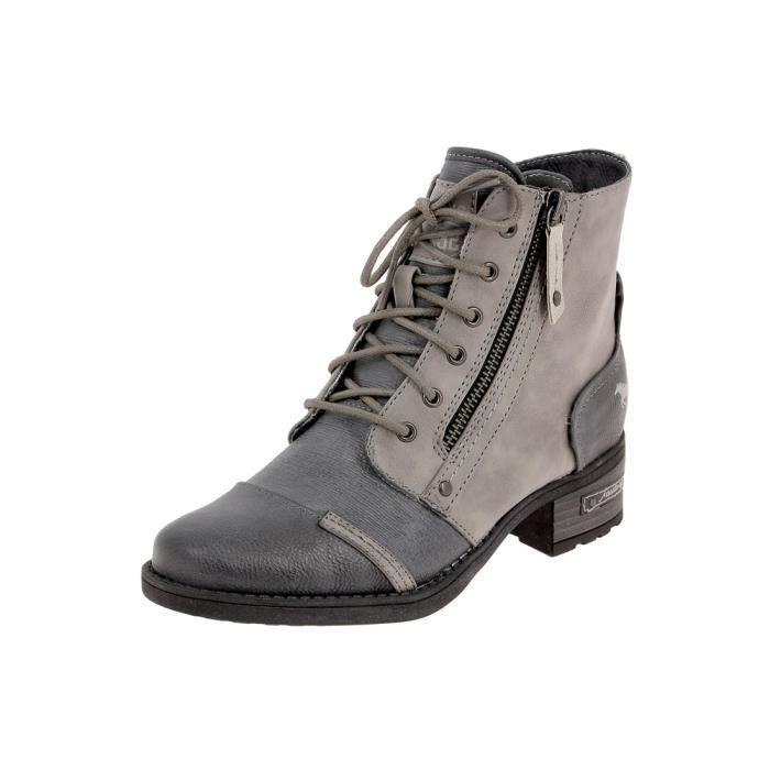bottines low boots 1229502 femme mustang 1229502 gris. Black Bedroom Furniture Sets. Home Design Ideas
