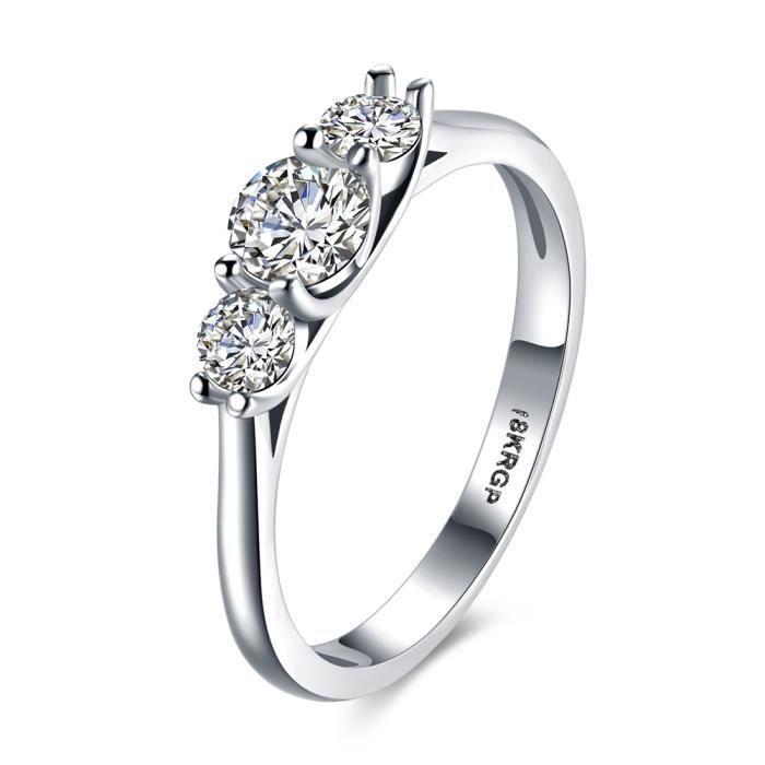Anneaux De Mariage Pour Les Femmes Or Blanc Plaqué CZ Diamant Anneaux ...