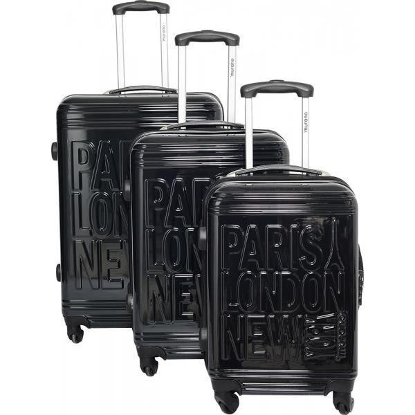bagage murano lot de 3 valise 4roues noir achat vente set de valises bagage murano lot de 3. Black Bedroom Furniture Sets. Home Design Ideas