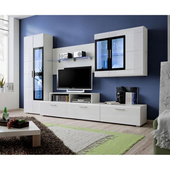 Paris prix meuble tv mural design krone 270cm blanc for Prix meuble tv