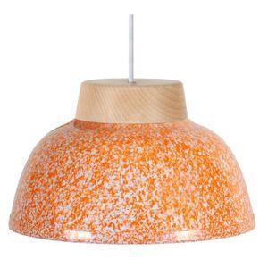 MÉLAMINE Lustre - suspension en mélamine, diam?tre 26 cm, bois, mouchetée orange