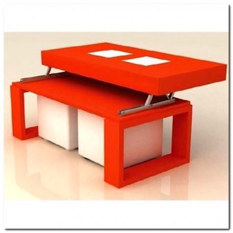 Table basse orange plateau relevable 2 poufs blanc achat - Table relevable pas cher ...