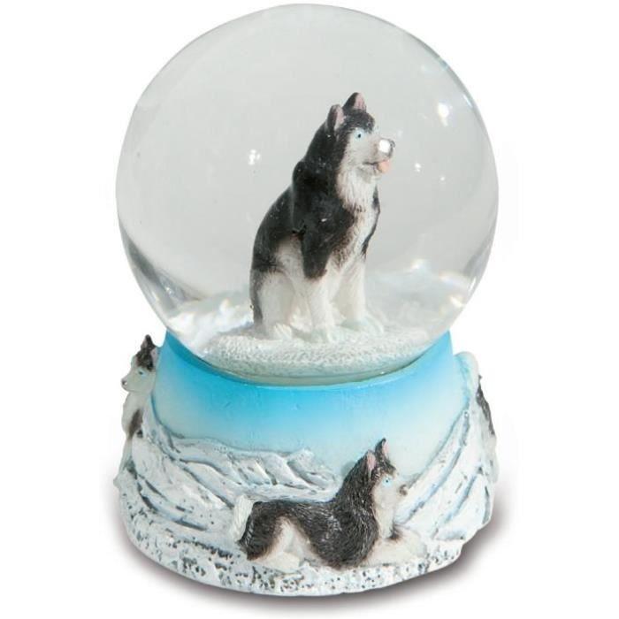 Boule de neige animal chien husky d cor montagne achat for Decoration maison petit prix