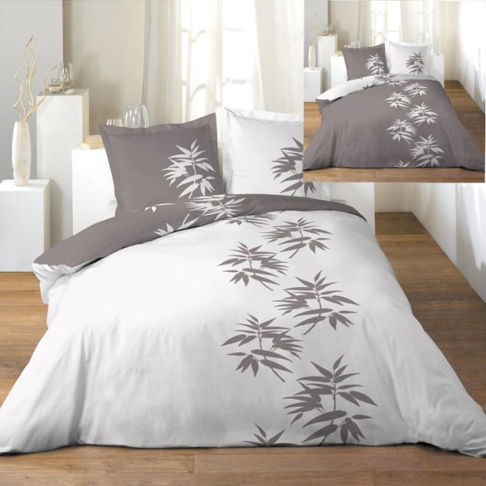 parure de couette r versible 240x260 bamboo tau achat vente parure de couette cdiscount. Black Bedroom Furniture Sets. Home Design Ideas