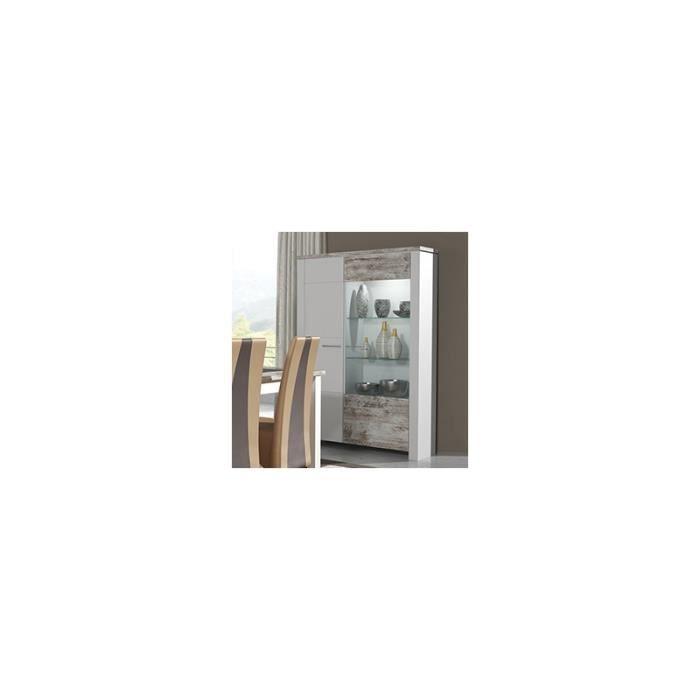 Vaisselier blanc et bois vieilli moderne brokant blanc mat et effet bois vieilli achat - Meuble effet vieilli blanc ...