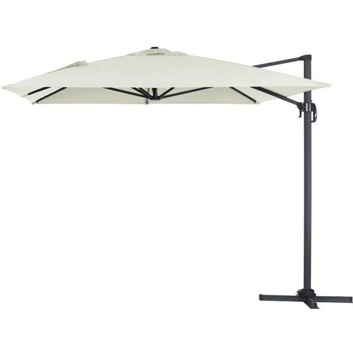 Parasol jardin d port alu sun 4 rectangle 3 x 4 m ecru achat vente - Parasol prix discount ...