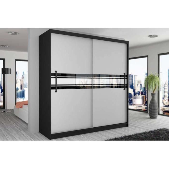 justhome geometric i armoire 218x133x60 cm couleur blanc mat motif ii poign e noire achat. Black Bedroom Furniture Sets. Home Design Ideas