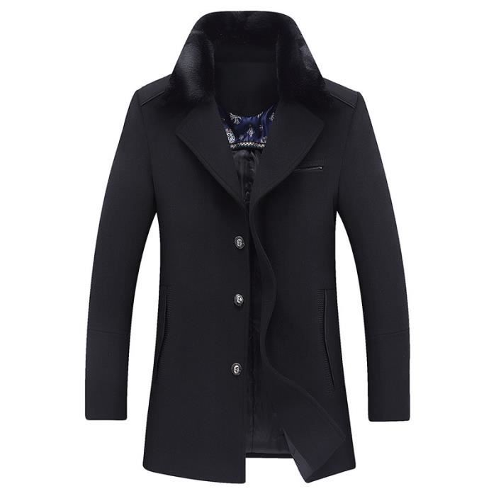 luxe homme col de fourrure veste de laine trench manteau. Black Bedroom Furniture Sets. Home Design Ideas