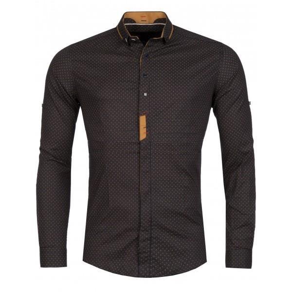 chemise homme classe marron marron achat vente chemise chemisette cdiscount. Black Bedroom Furniture Sets. Home Design Ideas