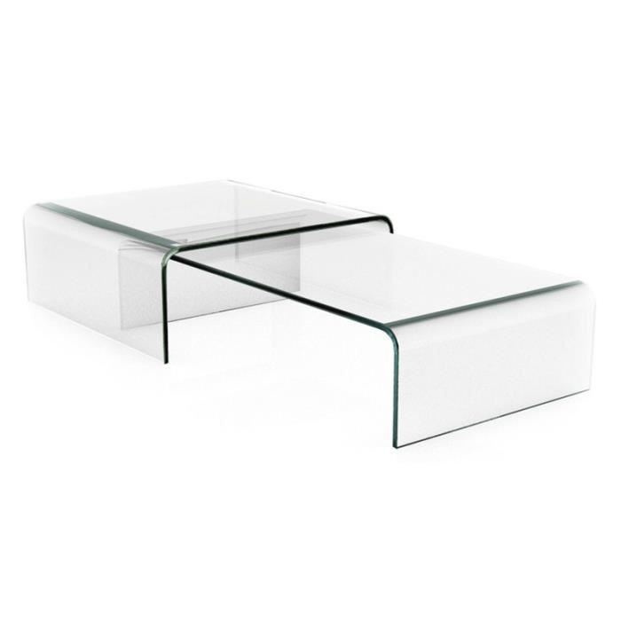 table basse design double pont transparente achat vente table basse table basse design. Black Bedroom Furniture Sets. Home Design Ideas