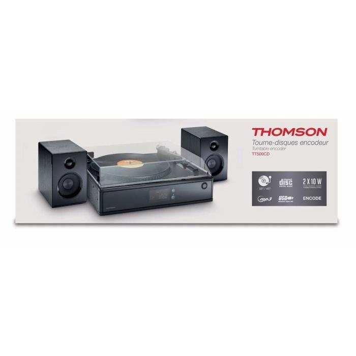 Tourne disques noir encodeur deux vitesses mp3 usb 2 - Tourne disque avec haut parleur integre ...